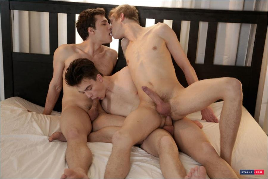 Cool gay guy spit roast in gay gangbang